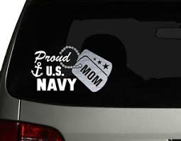 Proud Us Navy Mom Vinyl Car Decal Sticker 7 5 W With Silver Military Dog Tag Ebay