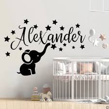 Custom Name Elephant Star Wall Sticker Baby Nursery Kids Room Personalized Name Elephant Animal Safari Forest Wall Deal Vinyl Wall Stickers Aliexpress