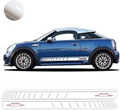 Amazon Com 2pcs Car Styling Decoration Sticker For Mini Cooper R56 F56 Side Stripes Graphics Decal John Cooper Works Stripe Accessories Gloss White White Work Arts Crafts Sewing