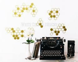 Honeycomb Wall Decals Hexagon Wall Decals Gold Vinyl Decals Honeycomb Ga48 Ebay
