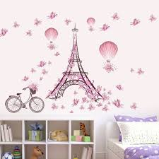 Shop Pink Flower Bicycle Eiffel Tower Wall Sticker Home Decor Mural Art Overstock 17484241
