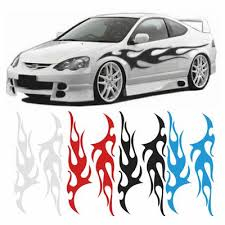 2 X Flame Auto Graphic Decal Large Flaming Body Car Truck Vnyl Flames Sticker 12 X 48 Door Decal Buy At A Low Prices On Joom E Commerce Platform