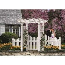 New England Arbors Fairfield Arbour With Trim Gate Wings The Home Depot Canada