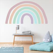 Pastel Rainbow Self Adhesive Wall Decal Mural Small Large Sizes Easy And Removable Home Decor In 2020 Playroom Wall Decals Rainbow Wall Decal Wall Decals