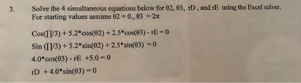 4 simultaneous equations below