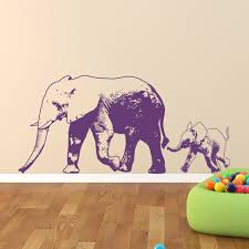Elephant With Baby Elephant Wall Decal
