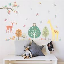 Colorful Forest Animals Giraffe Tree Wall Stickers For Kids Room Children Wall Decal Nursery Bedroom Home Decor Poster Mural Sticker For Kids Room Tree Wall Stickerwall Stickers For Kids Aliexpress