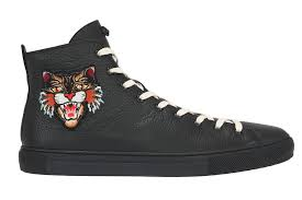 black leather high top sneakers shoes
