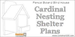 Cardinal Nesting Shelter Birdhouse Plans Construct101