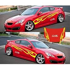 Amazon Com Giftcity Car Decal 1 Set Cool Flame Decal Stickers Vinyl Car Body Decal Hood Sticker Universal Car Stickers Yellow Automotive