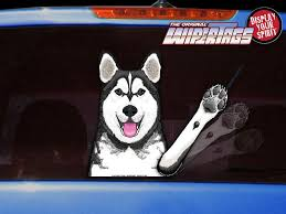 Timber The Waving Husky Dog Decal Wipertag For Rear Windshield Wiper Wipertags