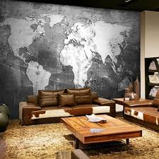 Dusky Gray World Map Wall Mural Gallery Wallrus Free Worldwide Shipping