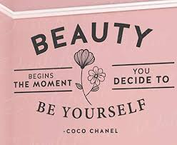 Amazon Com Decals For Beauty Begins Decide To Be Yourself Coco Chanel Wall Quote Vinyl Art Decal Mtx17 Home Kitchen