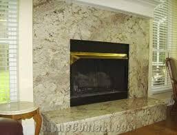 taupe white granite fireplace surround