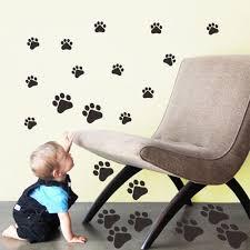 Amazon Com Bibitime 22 Walking Dog Paw Wall Sticker Prints Wall Decal Home Art Decor Bear Dogs Footprints Dish Room Sticker For Nursery Bedroom Kids Room Home Kitchen