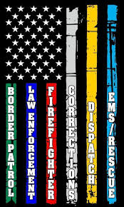 Thin Blue Line Red Line Fire Police Military Dispatch Corrections F Buckup Tactical