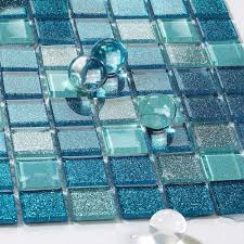blue glass tile bathroom floor clear