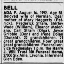 Ada Bell Obituary 1992 - Newspapers.com