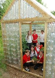 greenhouse out of recycled plastic bottles