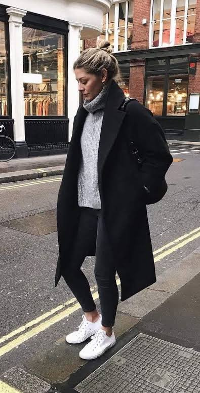 Black coat and sweater