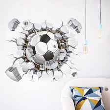 Vacally Wall Decor Stick Wallpaper 3d Soccer Ball Football Decal Kids Living Room Bedroom Home Room Decor Sport Amazon Com Industrial Scientific