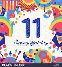 Feliz Cumpleanos 11 11 Anos De Diseno Divertido Con Numero Texto