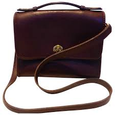 coach brown leather city bag cross