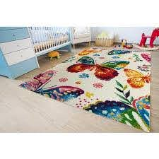 Kc Cubs Multi Color Kids Children And Teen Bedroom And Playroom Rainbow Butterfly Design 5 Ft X 7 Ft Area Rug Kcp010006 5x7 The Home Depot
