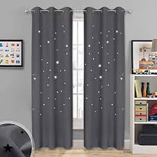 Amazon Com Nicetown Starry Curtains Blackout Panels Soft Thick Room Darkening Curtains With Hollow Out Twinkle Stars For Boys Nursery Kids Room Window Drapes 2 Panels 42w X 84l Inches Gray Home