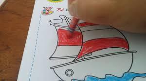 Tô màu thuyền buồm _ hướng dẫn trẻ mầm non tô màu - YouTube