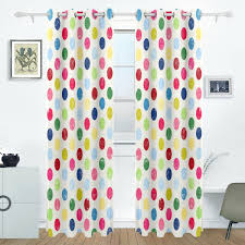 Amazon Com Aideess Colorful Polka Dot Room Darkening Thermal Insulated Grommet Blackout Window Curtains For Living Room Curtain Panels Pair Black 55x84 Inch Home Kitchen