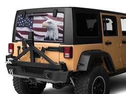 Sec10 Jeep Wrangler Perforated Flag And Eagle Rear Window Decal J108513 87 21 Jeep Wrangler Yj Tj Jk Jl