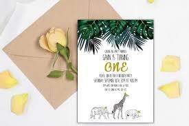 Editables Animales De La Selva Primer Cumpleanos Invitaciones