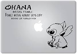 Amazon Com Univers3 Stitch Quote Ohana Family Experiment 626 Lilo Stitch Vinyl Decal Sticker For Macbook Notebook Laptop Computers Accessories