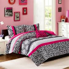 4 piece girls hot pink zebra comforter