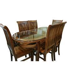 glass top teakwood dining table set