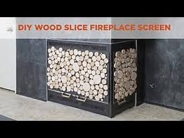 diy wood slice fireplace screen