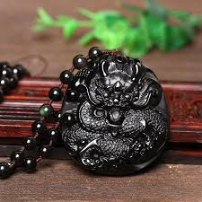 black obsidian dragon pendant dragon