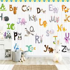 Wallpaper 3d Nordic Cartoon Animal English Alphabet Children Room Background Wall Mural Wallpapers For Kids Room Wall Paper 3d Wallpapers Aliexpress