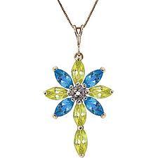 peridot diamond blue topaz flower