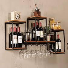 wall mounted loft retro iron metal wine