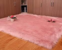 Amazon Com Super Soft Faux Fur Rug Kids Carpet Fur Area Rugs Baby Nursery Rug Decor For Bedroom Living Room Light Pink 7ftx7ft Baby