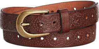 fossil fl embossed leather belt