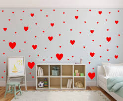Heart Wall Decals In Red Heart Wall Decal Heart Wall Stickers Kids Bedroom Wall Decals