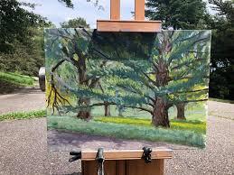 Plein Air Art - Artist: A Pair of Happy Trees -Boston - Wendi Gray  www.SunEdenArtistsGear.com | Facebook