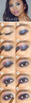 blue and burgundy smokey eye makeup