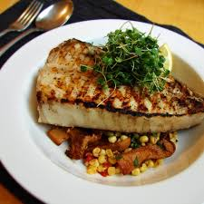 Grilled Halibut Steaks with Corn and ...