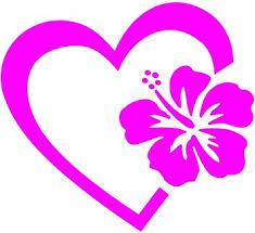 Amazon Com Heart With Hibiscus Flower 4 Hot Pink Vinyl Decal Sticker Automotive