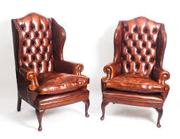 leather queen anne wing back armchairs