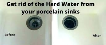 hard water stains from porcelain sinks